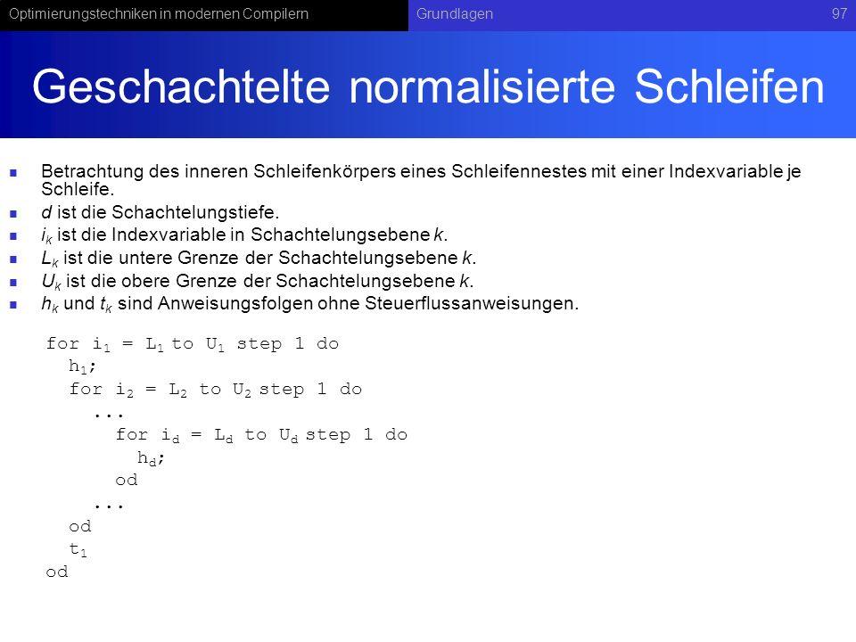 Optimierungstechniken in modernen CompilernGrundlagen97 Geschachtelte normalisierte Schleifen Betrachtung des inneren Schleifenkörpers eines Schleifennestes mit einer Indexvariable je Schleife.