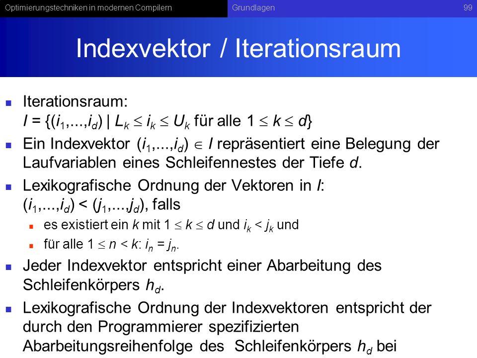Optimierungstechniken in modernen CompilernGrundlagen99 Indexvektor / Iterationsraum Iterationsraum: I = {(i 1,...,i d )   L k i k U k für alle 1 k d} Ein Indexvektor (i 1,...,i d ) I repräsentiert eine Belegung der Laufvariablen eines Schleifennestes der Tiefe d.
