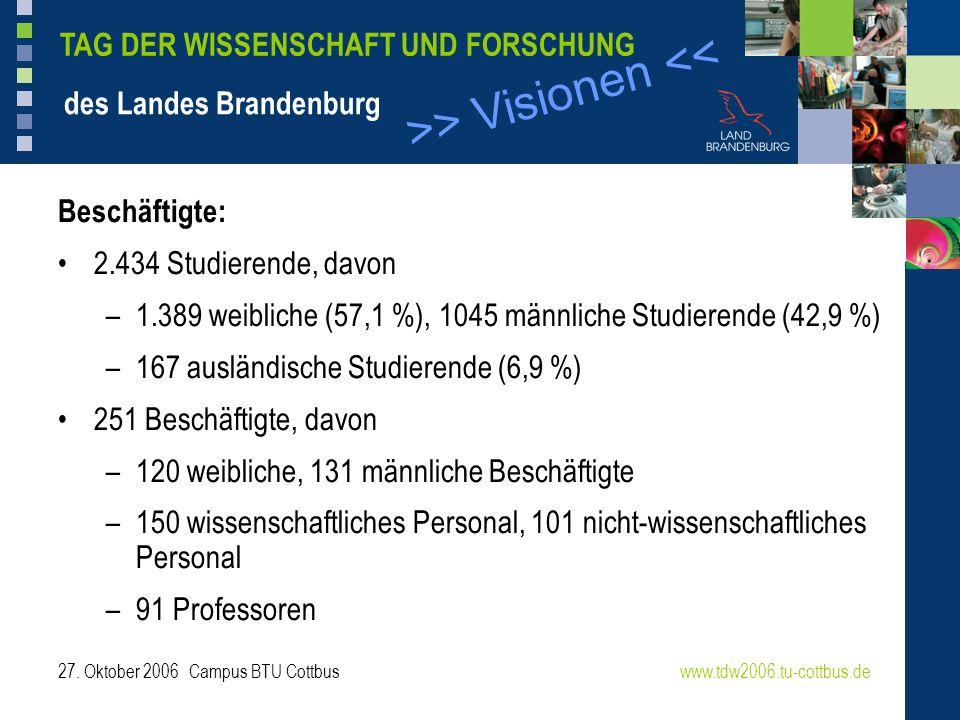 >> Visionen << www.tdw2006.tu-cottbus.de TAG DER WISSENSCHAFT UND FORSCHUNG des Landes Brandenburg 27. Oktober 2006 Campus BTU Cottbus Beschäftigte: 2