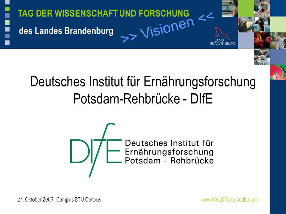 >> Visionen << TAG DER WISSENSCHAFT UND FORSCHUNG des Landes Brandenburg 27. Oktober 2006 Campus BTU Cottbuswww.tdw2006.tu-cottbus.de Deutsches Instit
