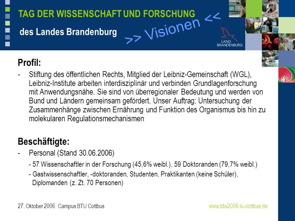 >> Visionen << www.tdw2006.tu-cottbus.de TAG DER WISSENSCHAFT UND FORSCHUNG des Landes Brandenburg 27. Oktober 2006 Campus BTU Cottbus Profil: -Stiftu
