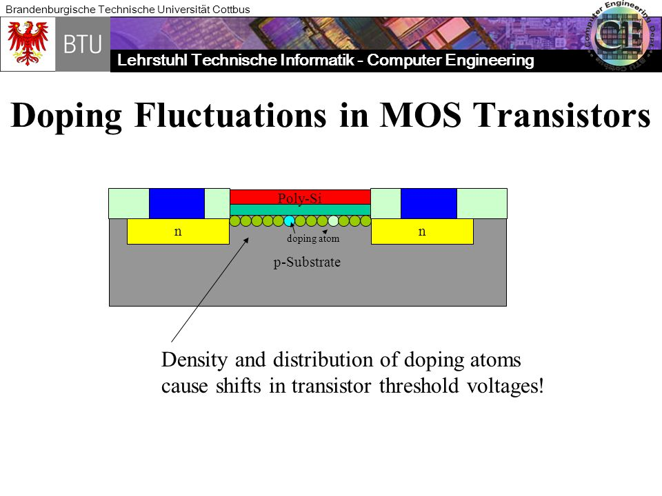 Lehrstuhl Technische Informatik - Computer Engineering Brandenburgische Technische Universität Cottbus Doping Fluctuations in MOS Transistors p-Substr