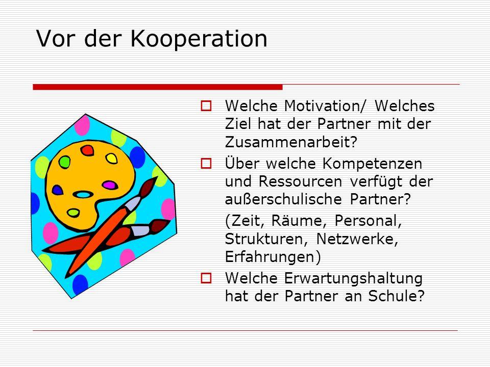 Vor der Kooperation Welche Motivation/ Welches Ziel hat der Partner mit der Zusammenarbeit? Über welche Kompetenzen und Ressourcen verfügt der außersc