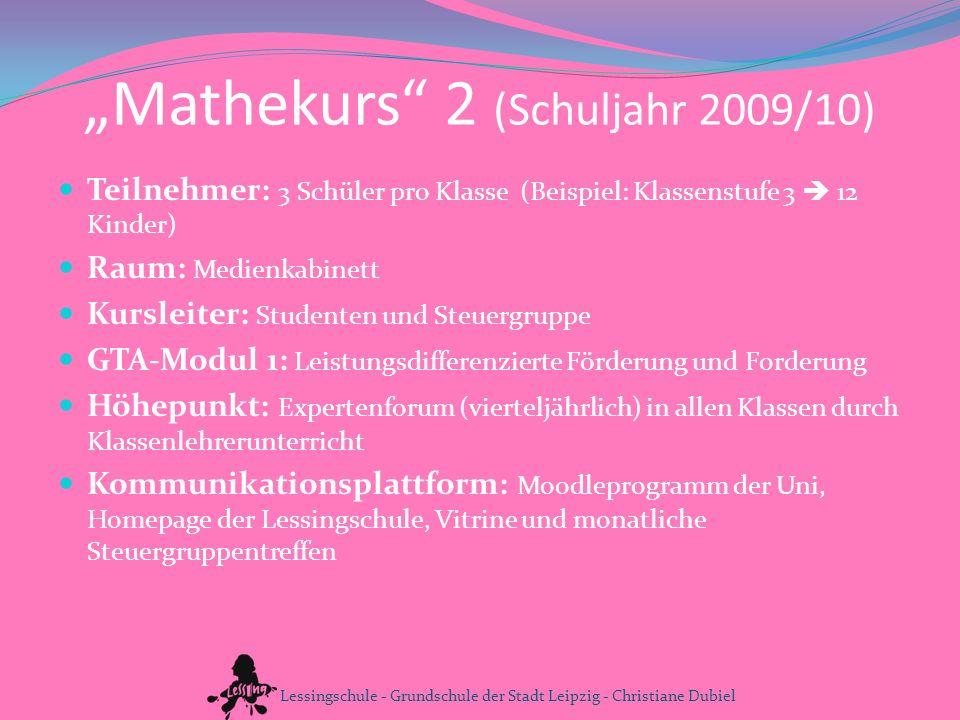Mathekurs 2 (Schuljahr 2009/10) Teilnehmer: 3 Schüler pro Klasse (Beispiel: Klassenstufe 3 12 Kinder) Raum: Medienkabinett Kursleiter: Studenten und S