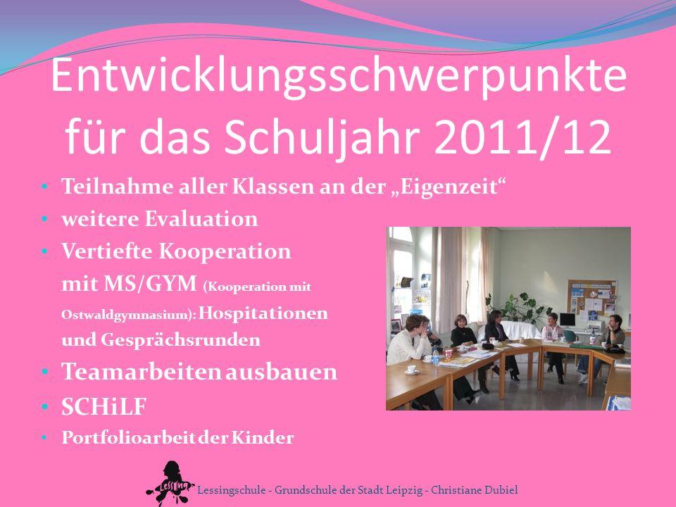 Entwicklungsschwerpunkte für das Schuljahr 2011/12 Teilnahme aller Klassen an der Eigenzeit weitere Evaluation Vertiefte Kooperation mit MS/GYM (Koope