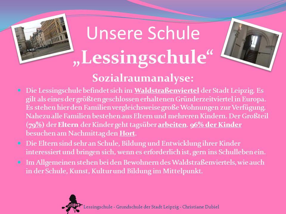 Unsere Schule Lessingschule Sozialraumanalyse: Die Lessingschule befindet sich im Waldstraßenviertel der Stadt Leipzig. Es gilt als eines der größten