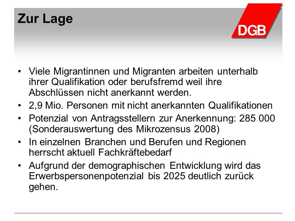 Zur Lage Viele Migrantinnen und Migranten arbeiten unterhalb ihrer Qualifikation oder berufsfremd weil ihre Abschlüssen nicht anerkannt werden. 2,9 Mi