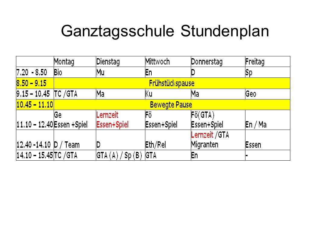 Ganztagsschule Stundenplan