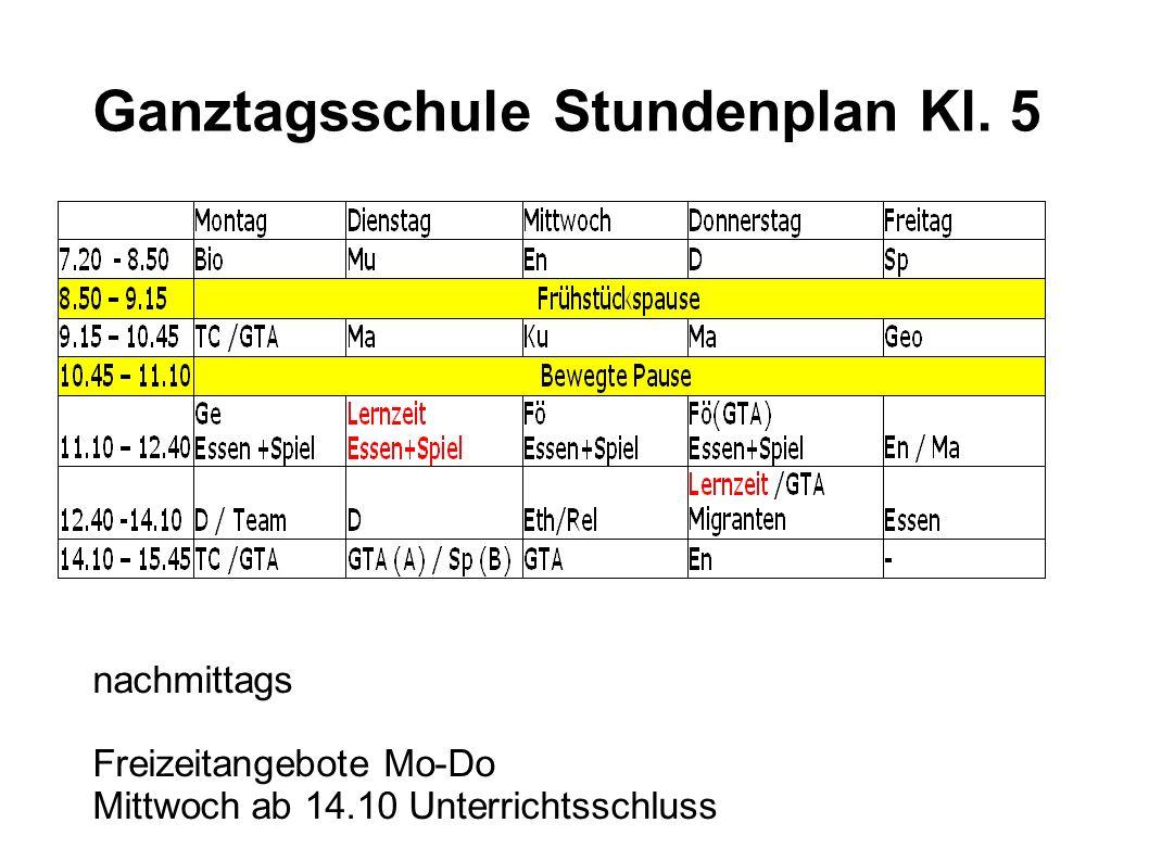 Ganztagsschule Stundenplan Kl.