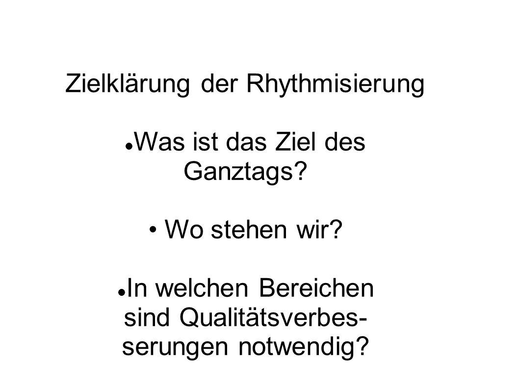 Formen der Rhythmisierung Äußere Rhythmisierung (auf Schulebene) Binnenrhythmisierung (auf Unterrichtsebene ) Innere Rhythmisierung (auf Schülerebene )
