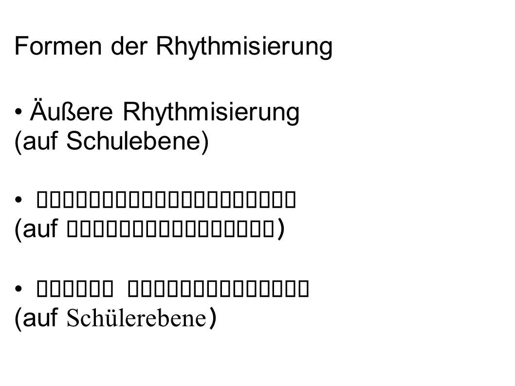 Zeiteinheiten für Rhythmisierung Innerhalb einer Stunde Innerhalb von Stundenblöcken Innerhalb eines Tages Innerhalb einer Woche Innerhalb eines Monats Innerhalb eines Jahres Innerhalb der Schulzeit eines Kindes an einer Schule (z.B.