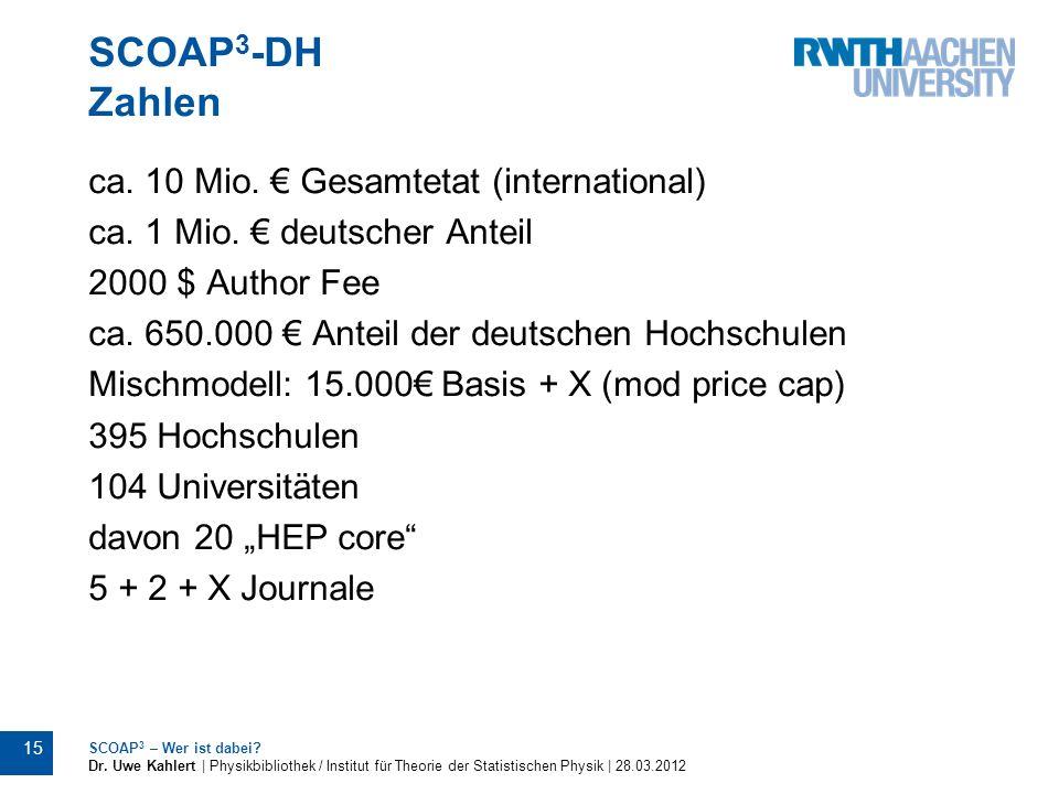 SCOAP 3 -DH Zahlen 15 SCOAP 3 – Wer ist dabei? Dr. Uwe Kahlert | Physikbibliothek / Institut für Theorie der Statistischen Physik | 28.03.2012 ca. 10