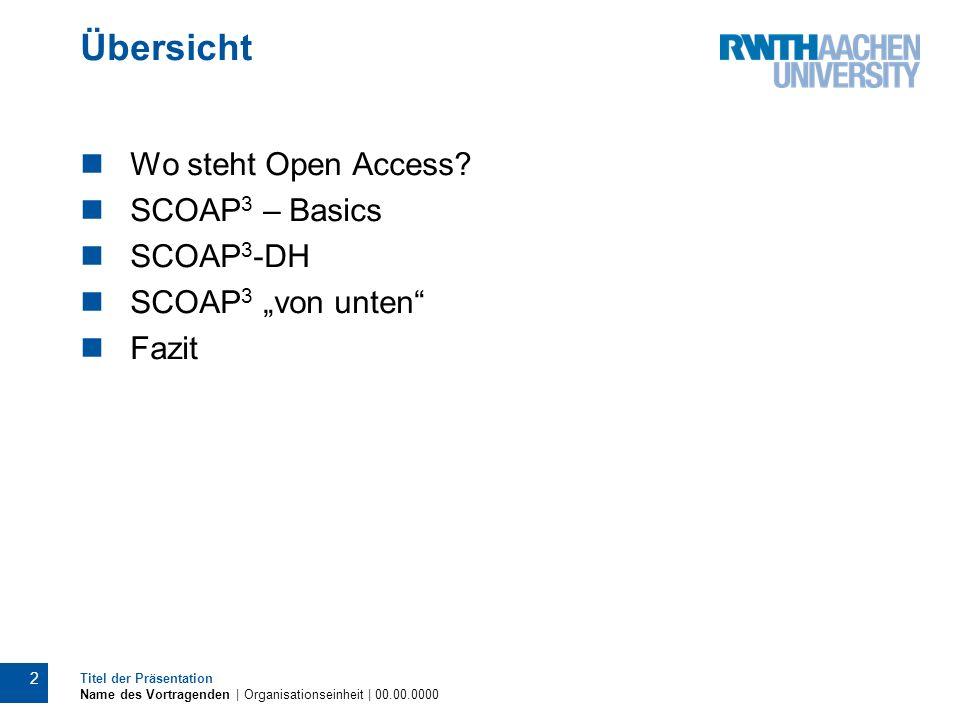 Übersicht Wo steht Open Access? SCOAP 3 – Basics SCOAP 3 -DH SCOAP 3 von unten Fazit 2 Titel der Präsentation Name des Vortragenden | Organisationsein