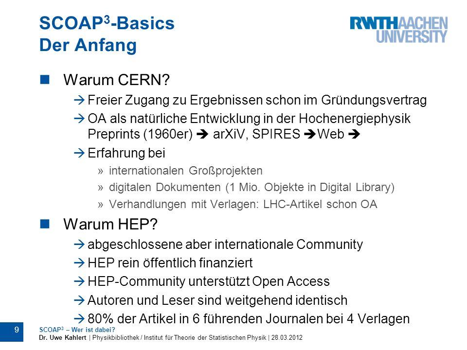 SCOAP 3 -Basics Der Anfang Warum CERN? Freier Zugang zu Ergebnissen schon im Gründungsvertrag OA als natürliche Entwicklung in der Hochenergiephysik P