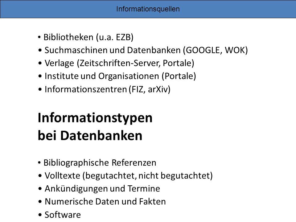 Informationsquellen Bibliotheken (u.a. EZB) Suchmaschinen und Datenbanken (GOOGLE, WOK) Verlage (Zeitschriften-Server, Portale) Institute und Organisa