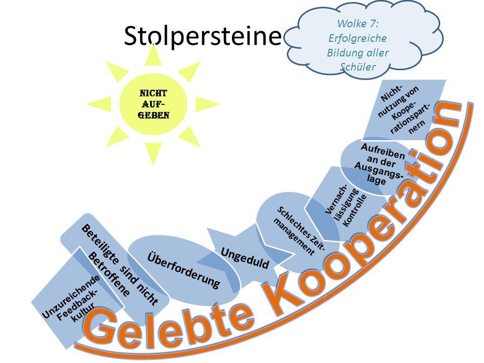 Stolpersteine Schlechtes Zeit- management Ungeduld Vernach- lässigung Kontrolle Aufreiben an der Ausgangs- lage Nicht- nutzung von Koope- rationspart-