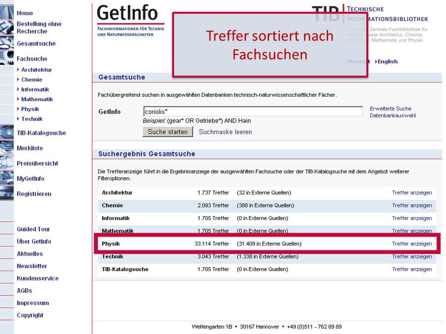 11 GetInfo 2. Titelzeile (von Hand kopieren!) Treffer sortiert nach Fachsuchen