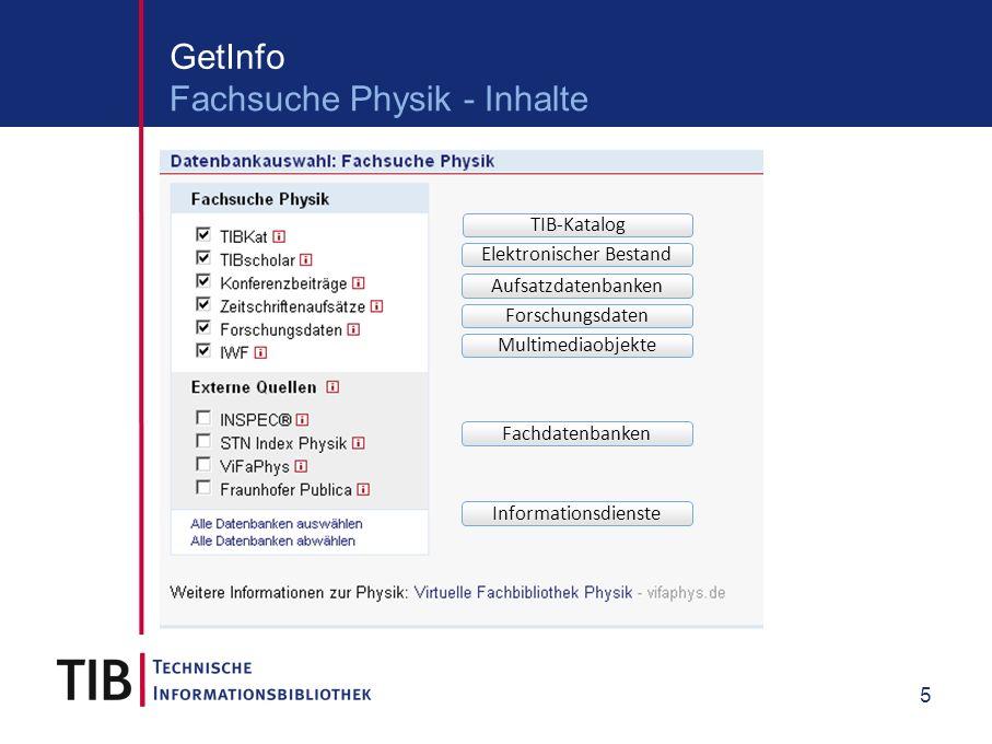 5 GetInfo Fachsuche Physik - Inhalte TIB-Katalog Elektronischer Bestand Aufsatzdatenbanken Forschungsdaten Multimediaobjekte Fachdatenbanken Informationsdienste