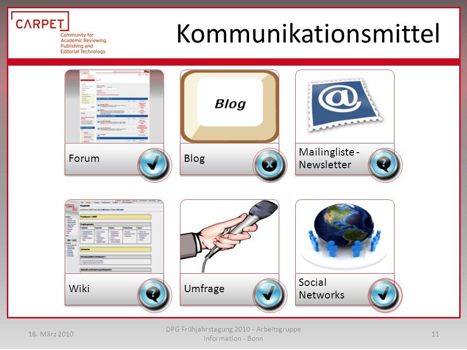 Kommunikationsmittel ForumBlog Mailingliste - Newsletter WikiUmfrage Social Networks 16.