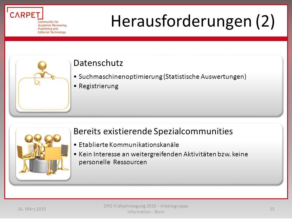 Datenschutz Suchmaschinenoptimierung (Statistische Auswertungen) Registrierung Bereits existierende Spezialcommunities Etablierte Kommunikationskanäle Kein Interesse an weitergreifenden Aktivitäten bzw.