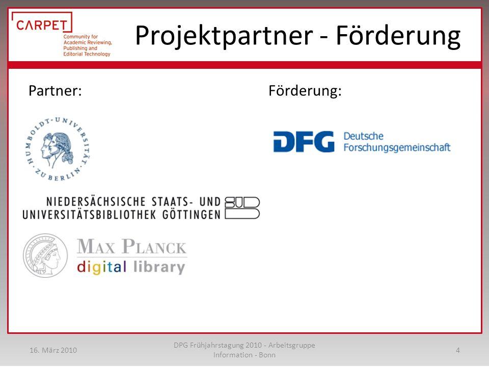 Projektpartner - Förderung Partner: Förderung: 16.