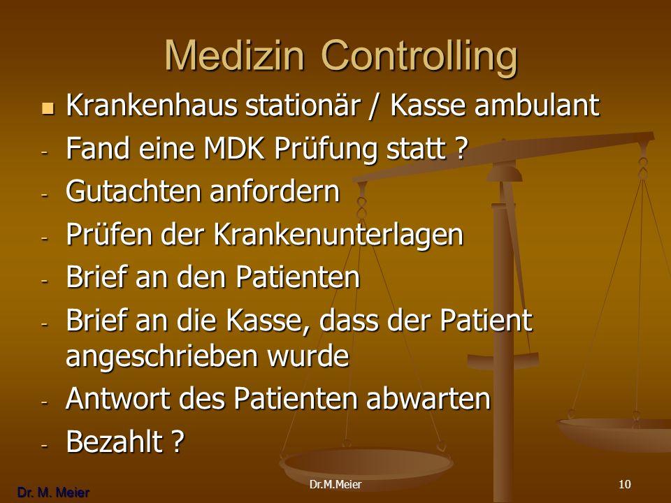 Dr. M. Meier 10 Medizin Controlling Medizin Controlling Krankenhaus stationär / Kasse ambulant Krankenhaus stationär / Kasse ambulant - Fand eine MDK