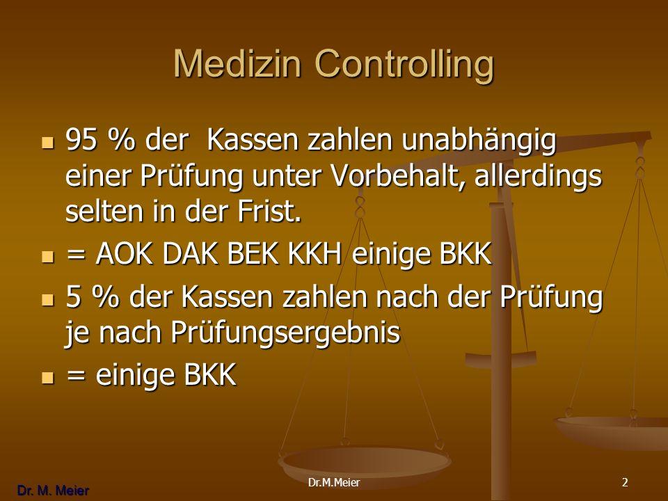 Dr. M. Meier 2 Medizin Controlling 95 % der Kassen zahlen unabhängig einer Prüfung unter Vorbehalt, allerdings selten in der Frist. 95 % der Kassen za