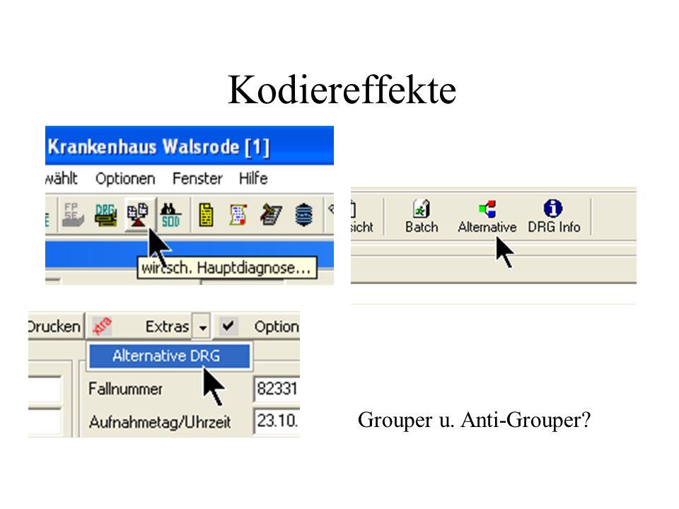 Kodiereffekte Grouper u. Anti-Grouper?