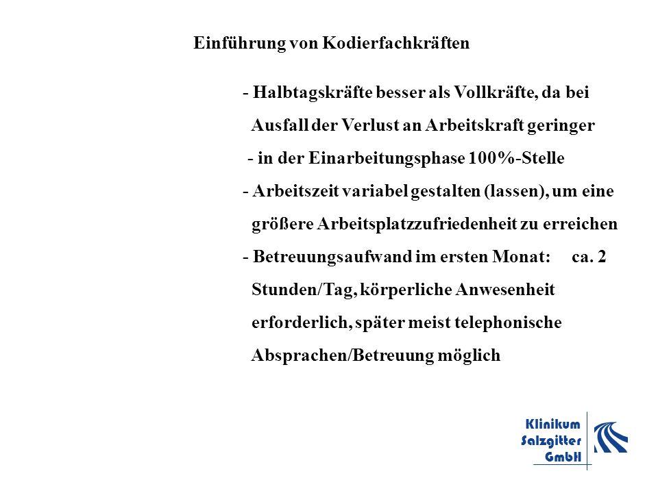 Klinikum Salzgitter GmbH Einführung von Kodierfachkräften - Halbtagskräfte besser als Vollkräfte, da bei Ausfall der Verlust an Arbeitskraft geringer