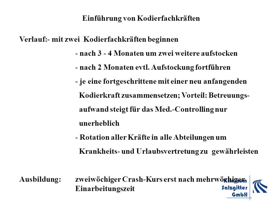 Klinikum Salzgitter GmbH Einführung von Kodierfachkräften Verlauf:- mit zwei Kodierfachkräften beginnen - nach 3 - 4 Monaten um zwei weitere aufstocke