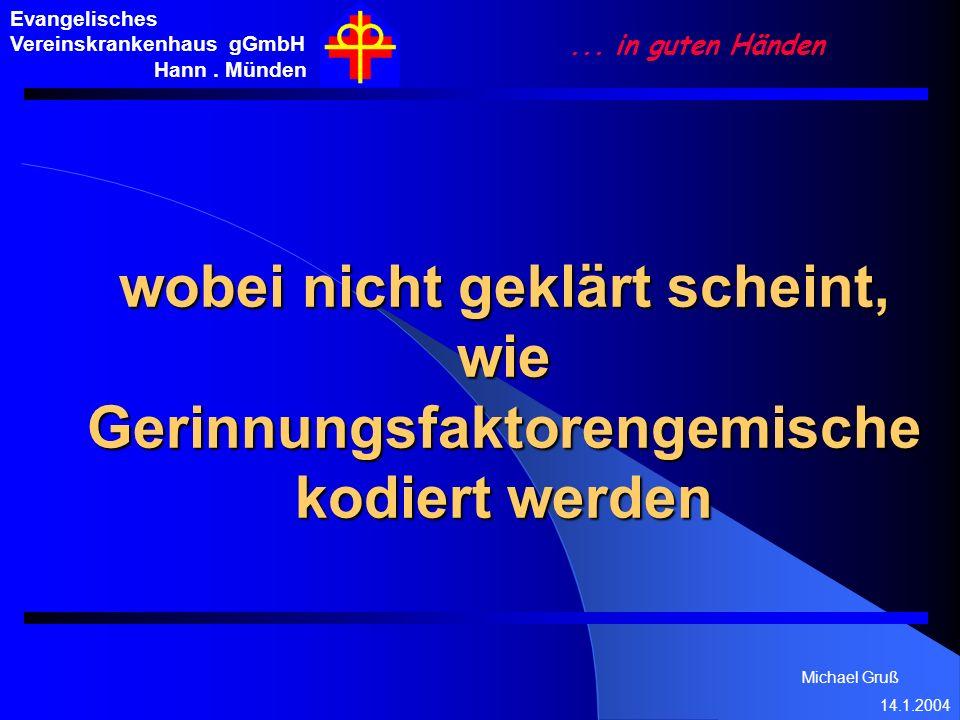 Michael Gruß 14.1.2004 Evangelisches Vereinskrankenhaus gGmbH Hann. Münden... in guten Händen wobei nicht geklärt scheint, wie Gerinnungsfaktorengemis