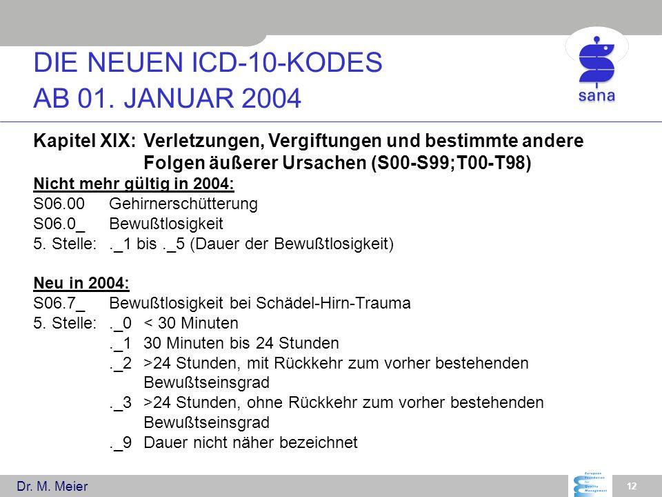 Dr. M. Meier 12 Kapitel XIX:Verletzungen, Vergiftungen und bestimmte andere Folgen äußerer Ursachen (S00-S99;T00-T98) Nicht mehr gültig in 2004: S06.0