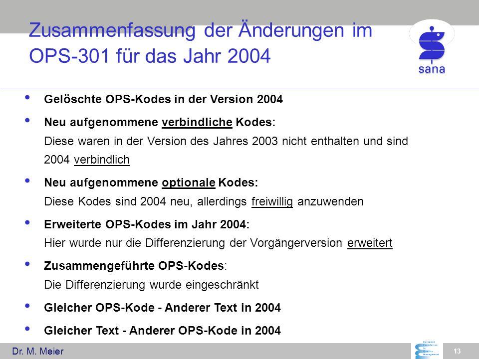 Dr. M. Meier 13 Gelöschte OPS-Kodes in der Version 2004 Neu aufgenommene verbindliche Kodes: Diese waren in der Version des Jahres 2003 nicht enthalte