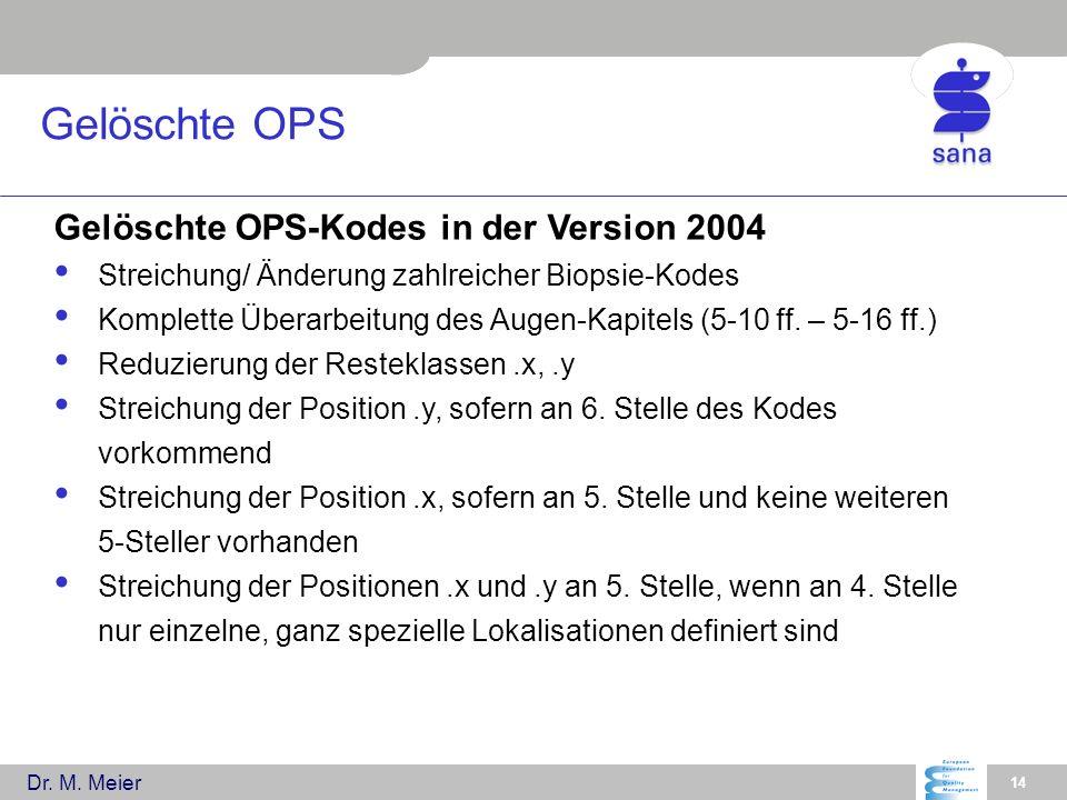 Dr. M. Meier 14 Gelöschte OPS Gelöschte OPS-Kodes in der Version 2004 Streichung/ Änderung zahlreicher Biopsie-Kodes Komplette Überarbeitung des Augen