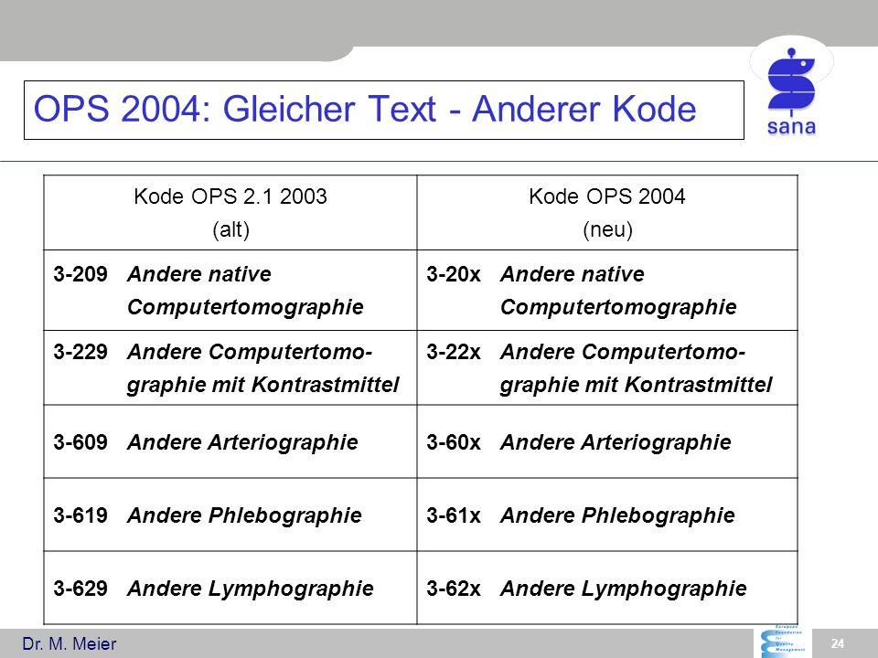 Dr. M. Meier 24 OPS 2004: Gleicher Text - Anderer Kode Kode OPS 2.1 2003 (alt) Kode OPS 2004 (neu) 3-209Andere native Computertomographie 3-20xAndere