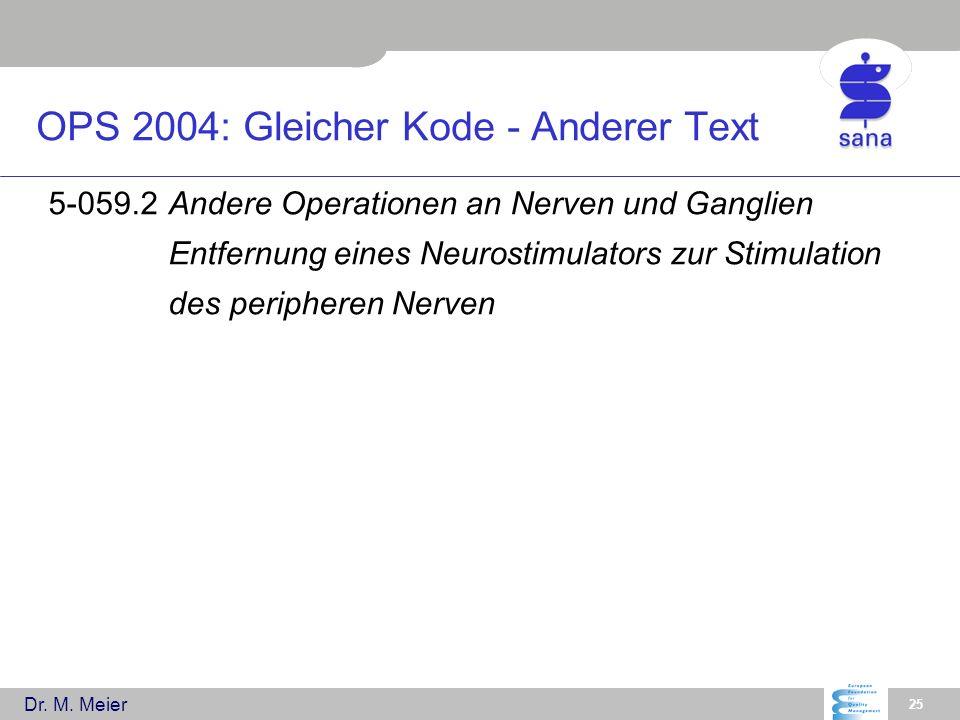 Dr. M. Meier 25 OPS 2004: Gleicher Kode - Anderer Text 5-059.2Andere Operationen an Nerven und Ganglien Entfernung eines Neurostimulators zur Stimulat