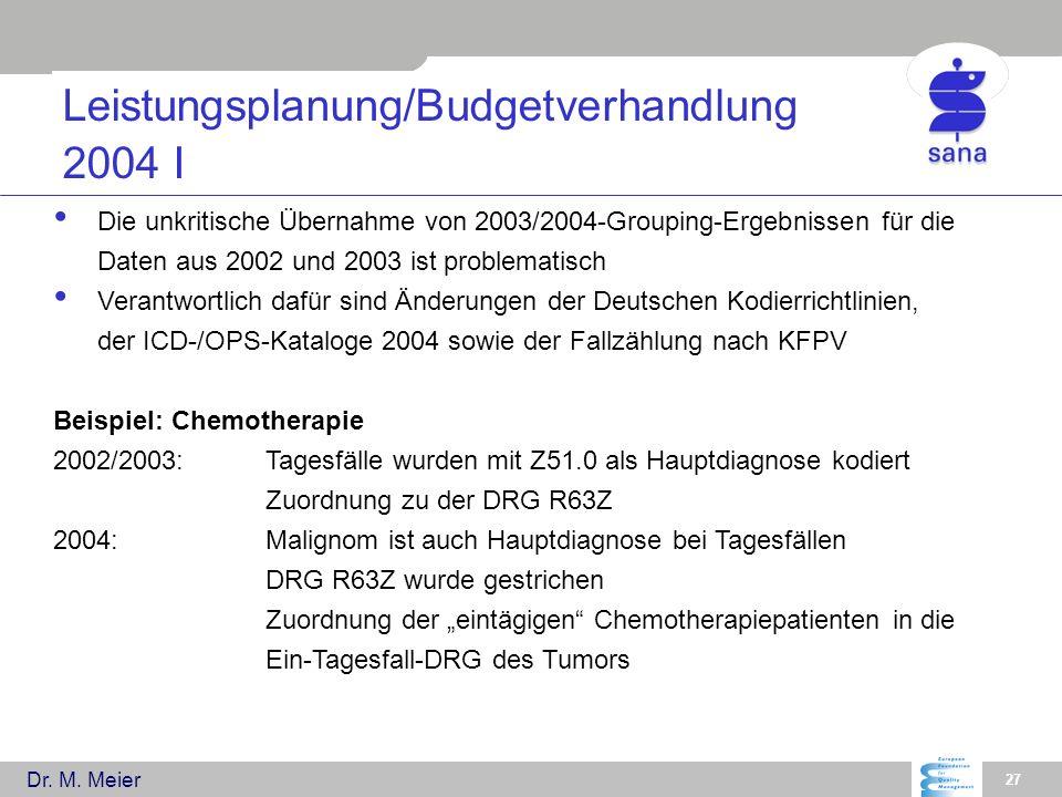 Dr. M. Meier 27 Leistungsplanung/Budgetverhandlung 2004 I Die unkritische Übernahme von 2003/2004-Grouping-Ergebnissen für die Daten aus 2002 und 2003