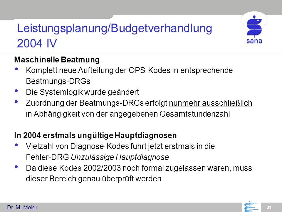 Dr. M. Meier 31 Leistungsplanung/Budgetverhandlung 2004 IV Maschinelle Beatmung Komplett neue Aufteilung der OPS-Kodes in entsprechende Beatmungs-DRGs