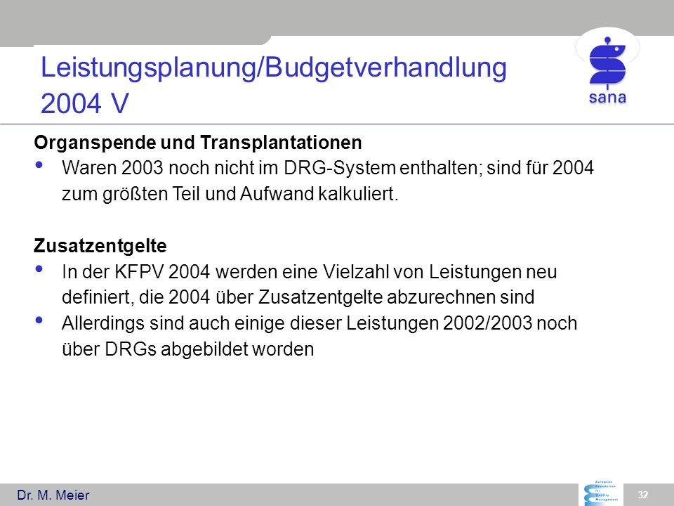 Dr. M. Meier 32 Leistungsplanung/Budgetverhandlung 2004 V Organspende und Transplantationen Waren 2003 noch nicht im DRG-System enthalten; sind für 20