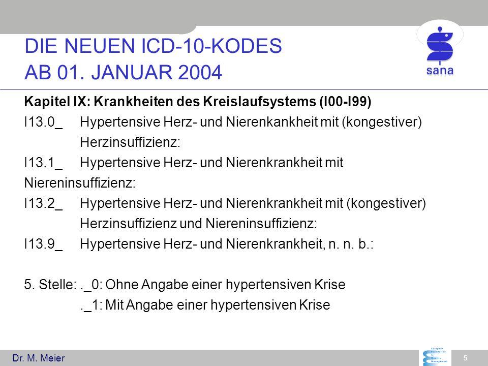Dr. M. Meier 5 Kapitel IX: Krankheiten des Kreislaufsystems (I00-I99) I13.0_Hypertensive Herz- und Nierenkankheit mit (kongestiver) Herzinsuffizienz: