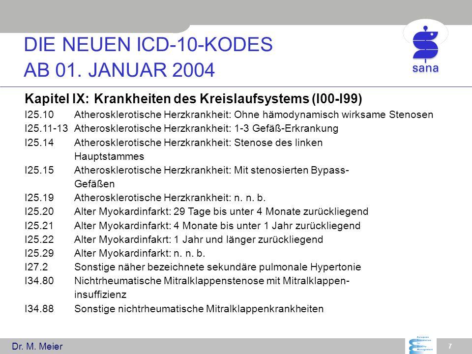 Dr. M. Meier 7 Kapitel IX:Krankheiten des Kreislaufsystems (I00-I99) I25.10Atherosklerotische Herzkrankheit: Ohne hämodynamisch wirksame Stenosen I25.