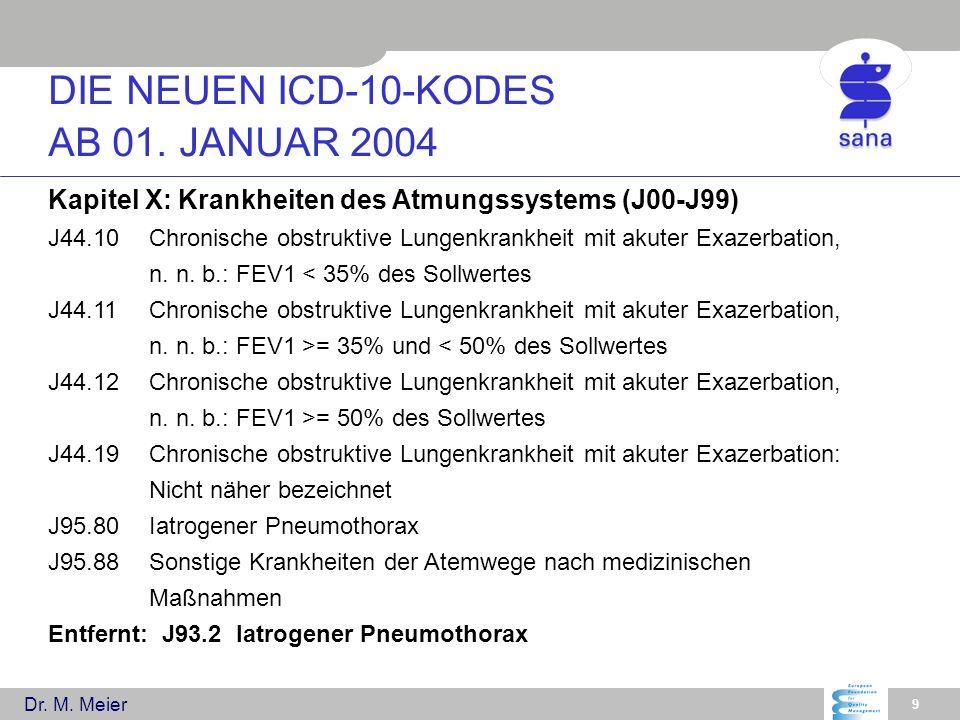 Dr. M. Meier 9 Kapitel X: Krankheiten des Atmungssystems (J00-J99) J44.10Chronische obstruktive Lungenkrankheit mit akuter Exazerbation, n. n. b.: FEV