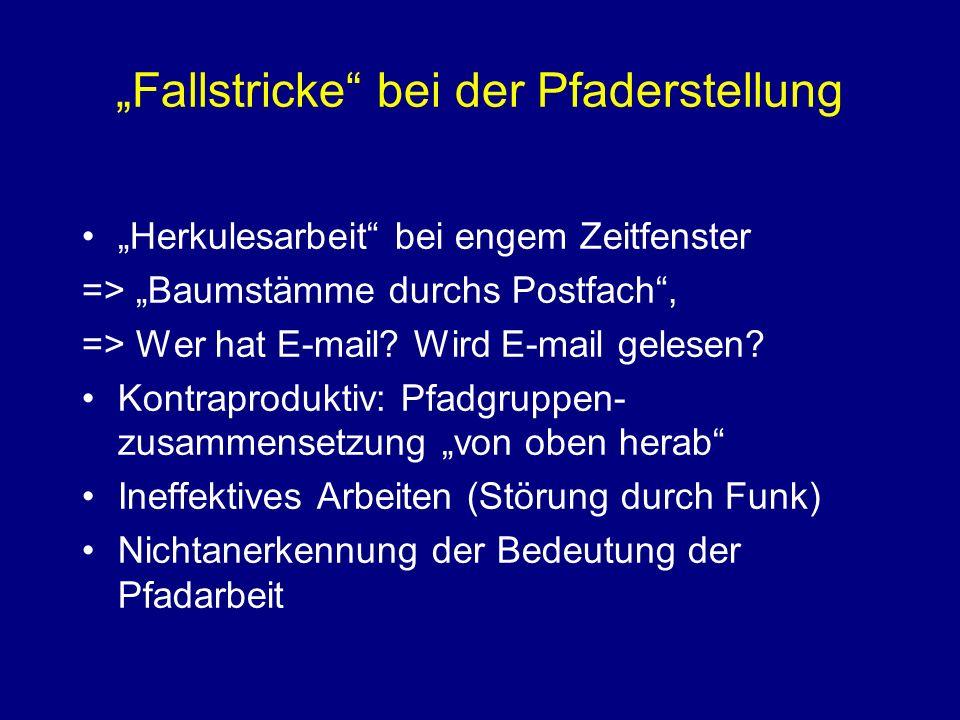 Fallstricke bei der Pfaderstellung Herkulesarbeit bei engem Zeitfenster => Baumstämme durchs Postfach, => Wer hat E-mail.