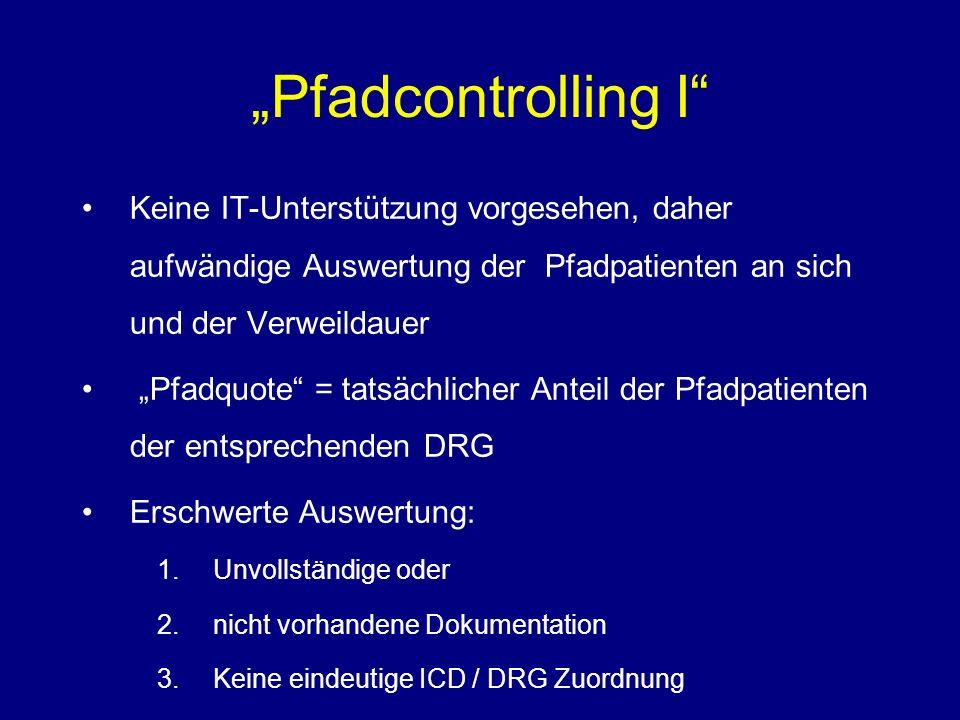 Pfadcontrolling I Keine IT-Unterstützung vorgesehen, daher aufwändige Auswertung der Pfadpatienten an sich und der Verweildauer Pfadquote = tatsächlicher Anteil der Pfadpatienten der entsprechenden DRG Erschwerte Auswertung: 1.Unvollständige oder 2.nicht vorhandene Dokumentation 3.Keine eindeutige ICD / DRG Zuordnung