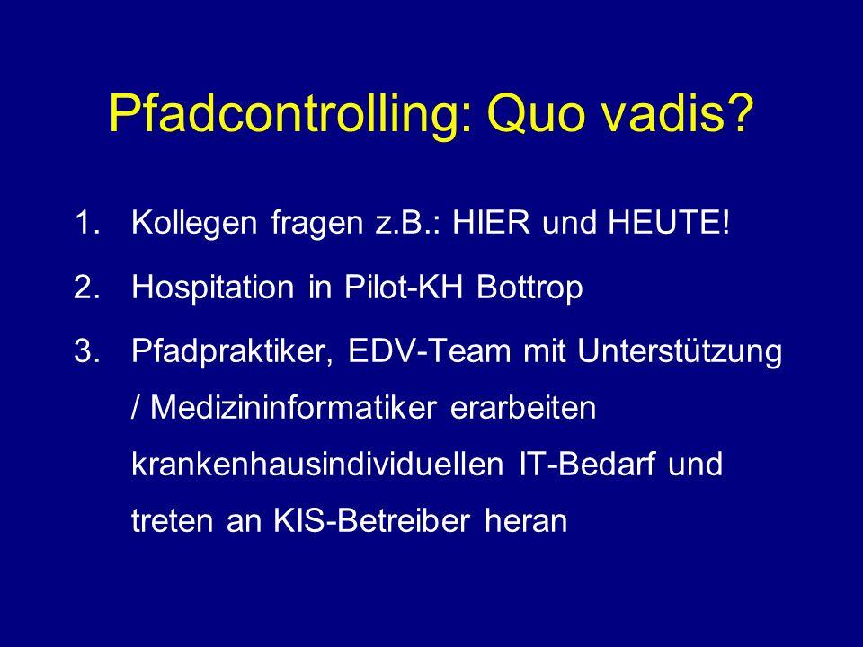Pfadcontrolling: Quo vadis? 1.Kollegen fragen z.B.: HIER und HEUTE! 2.Hospitation in Pilot-KH Bottrop 3.Pfadpraktiker, EDV-Team mit Unterstützung / Me