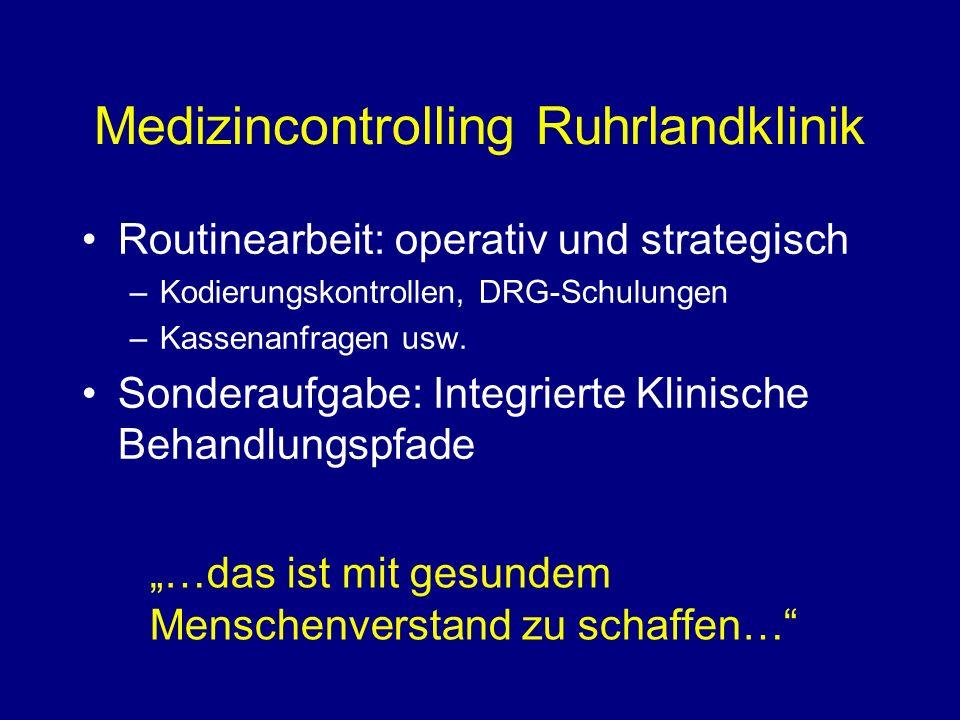 Medizincontrolling Ruhrlandklinik Routinearbeit: operativ und strategisch –Kodierungskontrollen, DRG-Schulungen –Kassenanfragen usw.