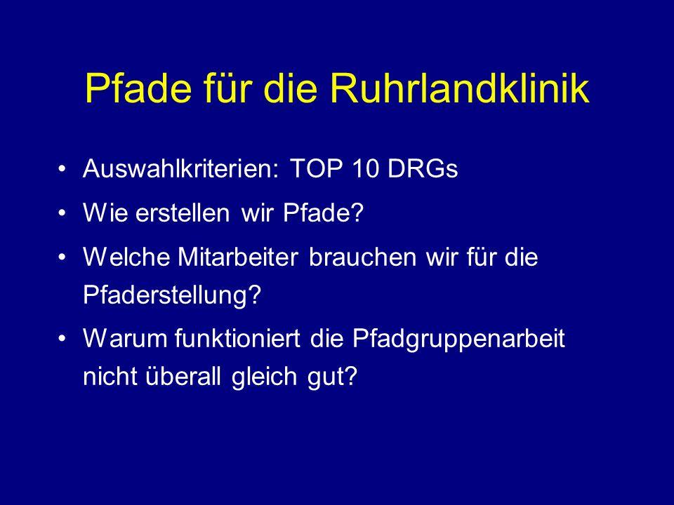Pfade für die Ruhrlandklinik Auswahlkriterien: TOP 10 DRGs Wie erstellen wir Pfade.