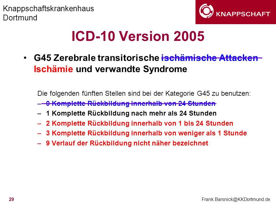 Knappschaftskrankenhaus Dortmund Frank.Barsnick@KKDortmund.de 29 ICD-10 Version 2005 G45 Zerebrale transitorische ischämische Attacken Ischämie und ve