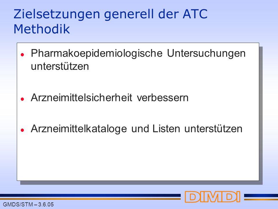 GMDS/STM – 3.6.05 Zielsetzungen generell der ATC Methodik l Pharmakoepidemiologische Untersuchungen unterstützen l Arzneimittelsicherheit verbessern l