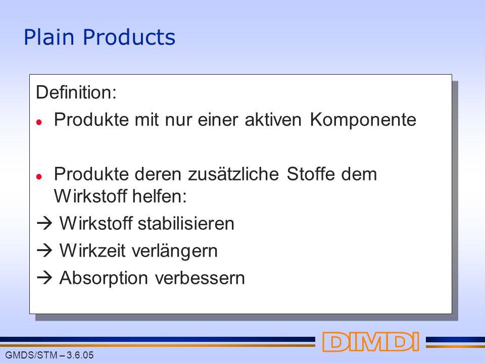 GMDS/STM – 3.6.05 Plain Products Definition: l Produkte mit nur einer aktiven Komponente l Produkte deren zusätzliche Stoffe dem Wirkstoff helfen: Wir
